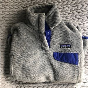 Women's grey/purple Patagonia fleece pullover